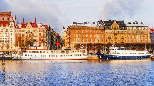 Fotobehang Schip old ships on the winter embankment of Stockholm. Sweden