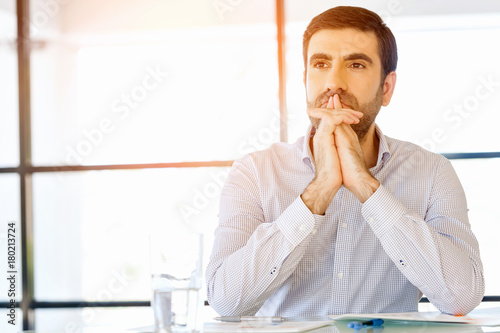 Sticker Pensive businessman at office