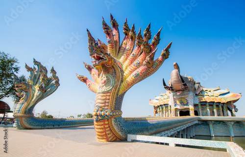 Fotobehang Thailand buddhist temple on blue sky in thailand