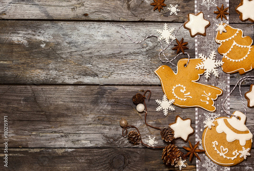 Christmas concept with cookies in rustic style. - 180215971