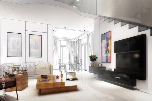 Obraz na płótnie Modern furnishing concept (draft)