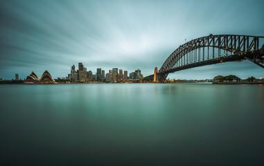 Evening skyline of Sydney downtown