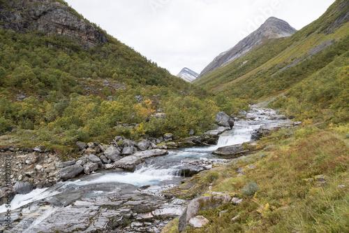 Fotobehang Bergrivier Scenic view from Glomsdalen, Stryn, Norway