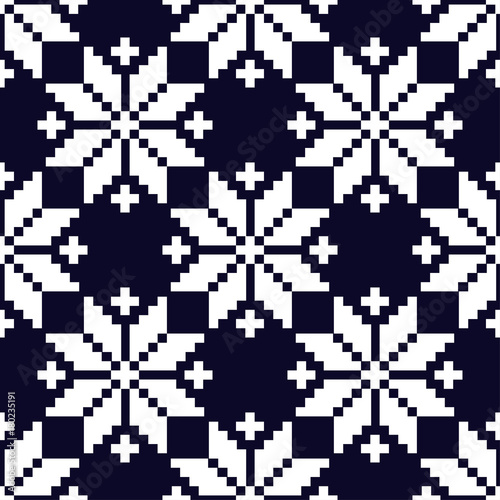 Materiał do szycia Seamless vector background with Norwegian snowflakes. Pixel snowflakes. Winter pattern. Textile rapport.