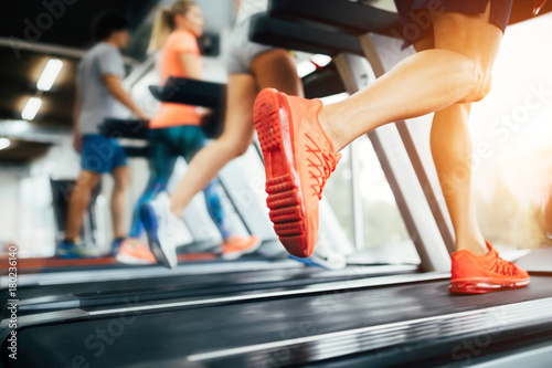 Picture of people running on treadmill in gym - 180236140