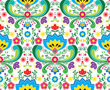 Norwegian folk art vector seamless pattern - Rosemaling style embroidery design - 180238776