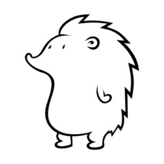 Cute hedgehog outline on white background