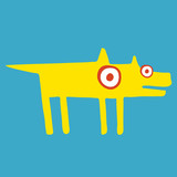 Funny yellow dog stands frozen in suspense. Side view. Blue background. Hand draw cartoon art style - 180239139