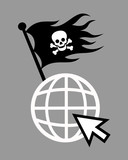 Internet And Online World  As Place For Illegal Piracy  Downloading Streaming Sharing Of Data Black Pirate Flag  Skull And Bones Is Waving On Symbol Of Internet Site  Illustration Wall Sticker