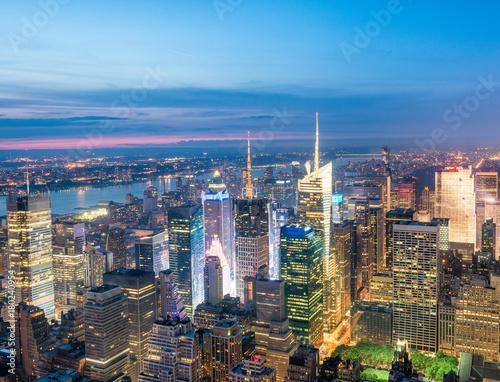 Foto op Aluminium Beijing Night aerial view of Midtown skyscrapers