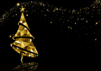 Golden Triangle Christmas Tree Background with Reflection and Sparkling Stars on Black - Luxury Abstract Illustration, Vector