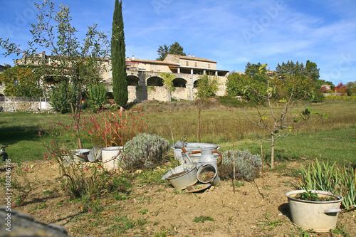Tuinposter Lavendel maison et jardin en automne