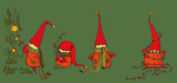 Funny and plump New Year's elves in knitted scarves will create a festive mood.
