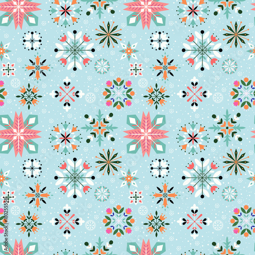 Cotton fabric Floral Snowflake seamless pattern