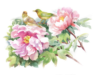 Bright beautiful floral illustration, fairytale flowers and birds on white background.