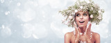 Fototapety Beauty Fashion Model Girl with Fir Branches Decoration