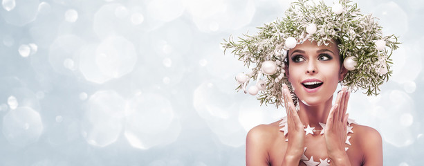 Beauty Fashion Model Girl with Fir Branches Decoration