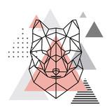 Geometric head of a wolf on a Scandinavian background. Scandi style.