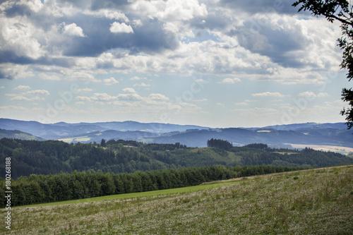 Fotobehang Lente Beautiful Czech summer landscape on hills with forest