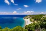 The scenic Tsabou beach, a popular destination on the Greek island of Samos, Greece