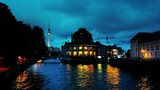 Berlin, Germany. Museum island on Spree river and Alexanderplatz TV tower in Berlin, Germany. During the night with illumination - 180270306