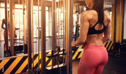 Sticker Woman shaping body muscles