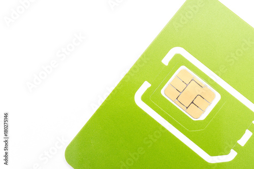Poster multiple size of green sim card in isolated.