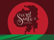 Secret Merry Christmas cartoon Santa Claus shadow sneaking in the spotlight to deliver Christmas gifts. EPS 10 vector. - 180282964