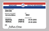 Medicare health insurance card. This is a John Doe mock Medicare card. - 180284101