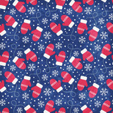Vintage winter seamless pattern with red mittens and snowflakes on blue background. Shabby texture. Vector illustration