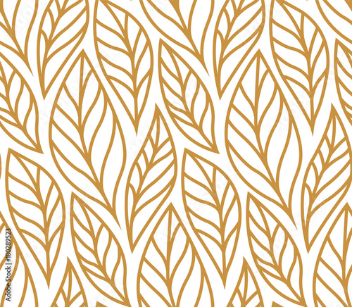 Vector illustration of leaves seamless pattern. Floral organic background. Hand drawn leaf texture. © Mangata