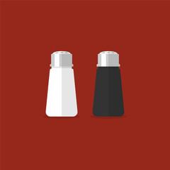Salt and pepper shaker. Vector illustration in flat style