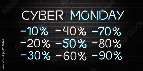 Vector realistic isolated neon sign of Cyber Monday lettering and sale discount numbers for decoration and covering on the wall background.