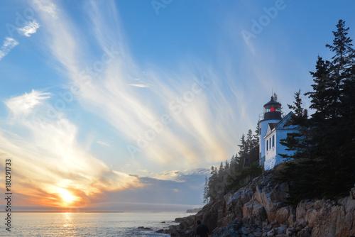Aluminium Blauwe hemel Bass Harbor Lighthouse