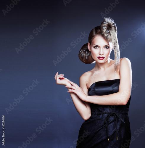 Fotobehang Kapsalon young elegant woman with creative hair style leopard print