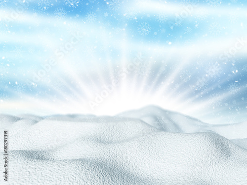 Fotobehang Lichtblauw 3D snow on a snowflake background