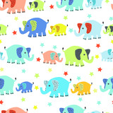 Seamless vector pattern with cute cartoon baby elephant rows