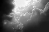 Dramatic atmosphere panorama view of black and white sky and clouds background.