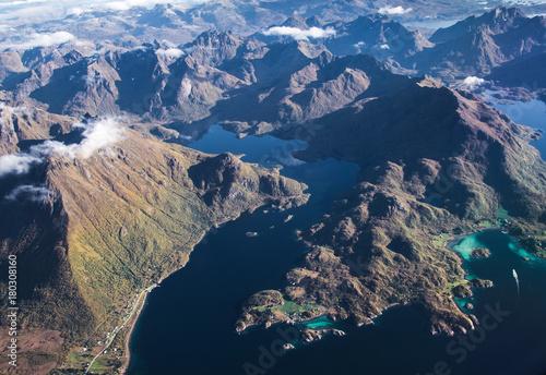 Papiers peints Bleu nuit Lofoten islands, Norway, from an airplane