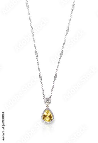 Yellow Diamond Citrine Topaz naszyjnik na białym tle