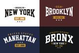 Set Typography NYC Design T-shirt Vector - 180316910