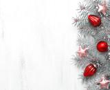 Christmas decoration on old wooden shabby background. Toned image. - 180318920