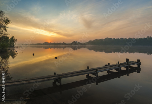 dawn on the lake,wooden pier