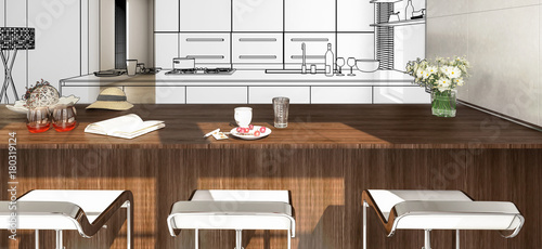 Modern Kitchen Arrangement in Concept (panoramic) - 180319124