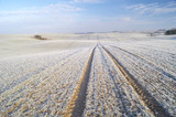 Winter panorama of fields, blue sky, frosted field - 180319587