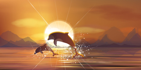 Vector sunset sea and dolphins.
