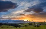 beautiful sunset over the mountains,Tatras ,Poland