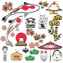 Japanese icons and symbol vector.Colorful  hand drawing style elements.