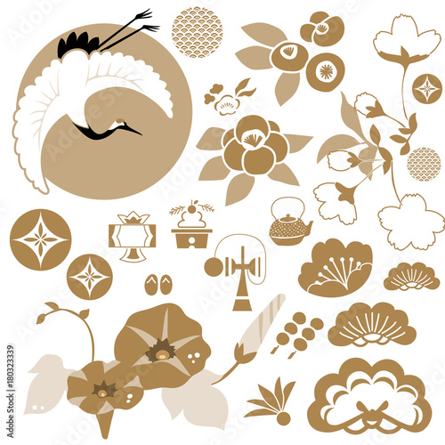 Japanese icons and symbol vector. Animal and natural pattern.crest vector.