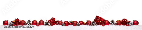 In de dag Bol Red christmas balls with xmas present gift boxes in a row isolated on snow, Christmas banner